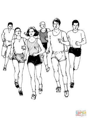 Marathon runners coloring page