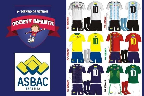 Kit modelo de uniformes futebol society infantil0