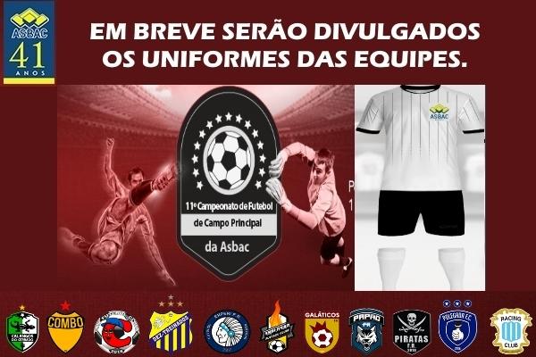 Cartaz futebol de campo principal uniformes