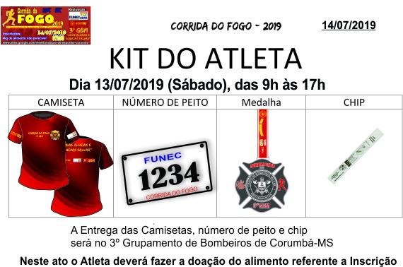 Kit do atleta corrida do fogo   2019