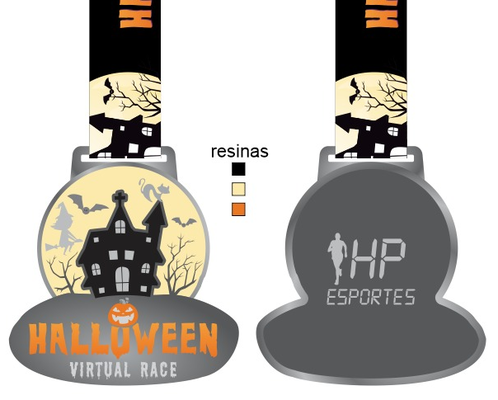 Medalha hallowen virtual race linda