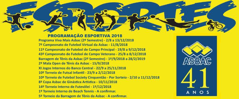 Programação Esportiva Asbac Brasília 2018